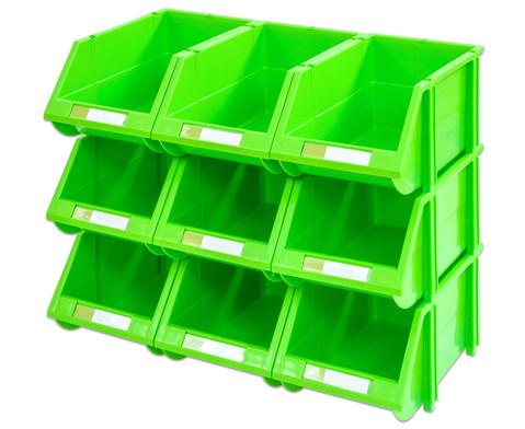 Stapelbox Set mit 9 Stueck - gruen klein