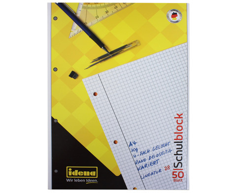 Schulblock DIN A4 kariert 10er-Set