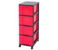 IRIS Schubladenbox mit Rollen, schwarz / rot (4 große Schubladen)
