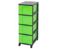 IRIS Schubladenbox mit Rollen, schwarz / grün (4 große Schubladen)