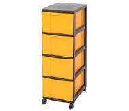 IRIS Schubladenbox mit Rollen, schwarz / gelb (4 große Schubladen)
