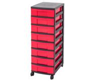 IRIS Schubladenbox mit Rollen, schwarz / rot (8 kleine Schubladen)