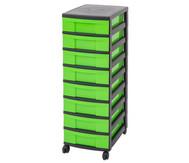 IRIS Schubladenbox mit Rollen, schwarz / grün (8 kleine Schubladen)