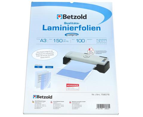 Betzold Laminierfolie A3 matt  glaenzend 150 mic 100 St
