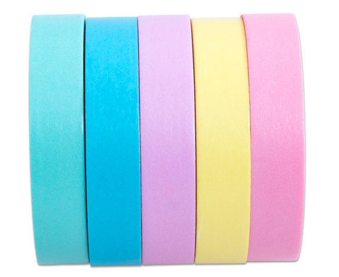 Washi Tape Set aus 5 Rollen Uni Pastell-2