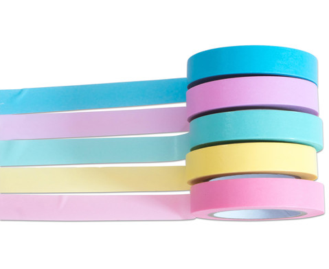 Washi Tape Set aus 5 Rollen Uni Pastell-4
