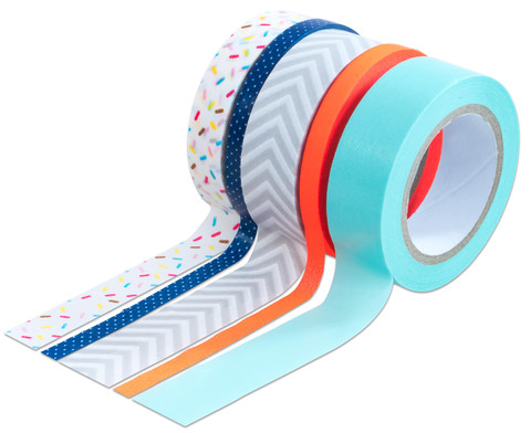 Washi Tape aus 5 Rollen - Konfetti neon orange grau mint blau