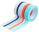 Washi Tape aus 5 Rollen - Konfetti neon orange grau mint blau-1