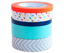Washi Tape aus 5 Rollen - Konfetti neon orange grau mint blau-2