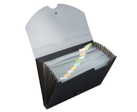 Faechermappe mit 12 Faechern DIN A4 grau-schwarz