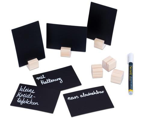 Kreidetaefelchen mit Holzwuerfel-Halterung 6er-Set inkl Kreidemarker