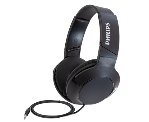 PHILIPS Kopfhoerer Bass Over-Ear mit Mikrofon