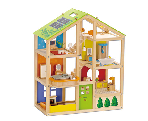 Vier-Jahreszeiten-Puppenhaus moebliert 36-tlg