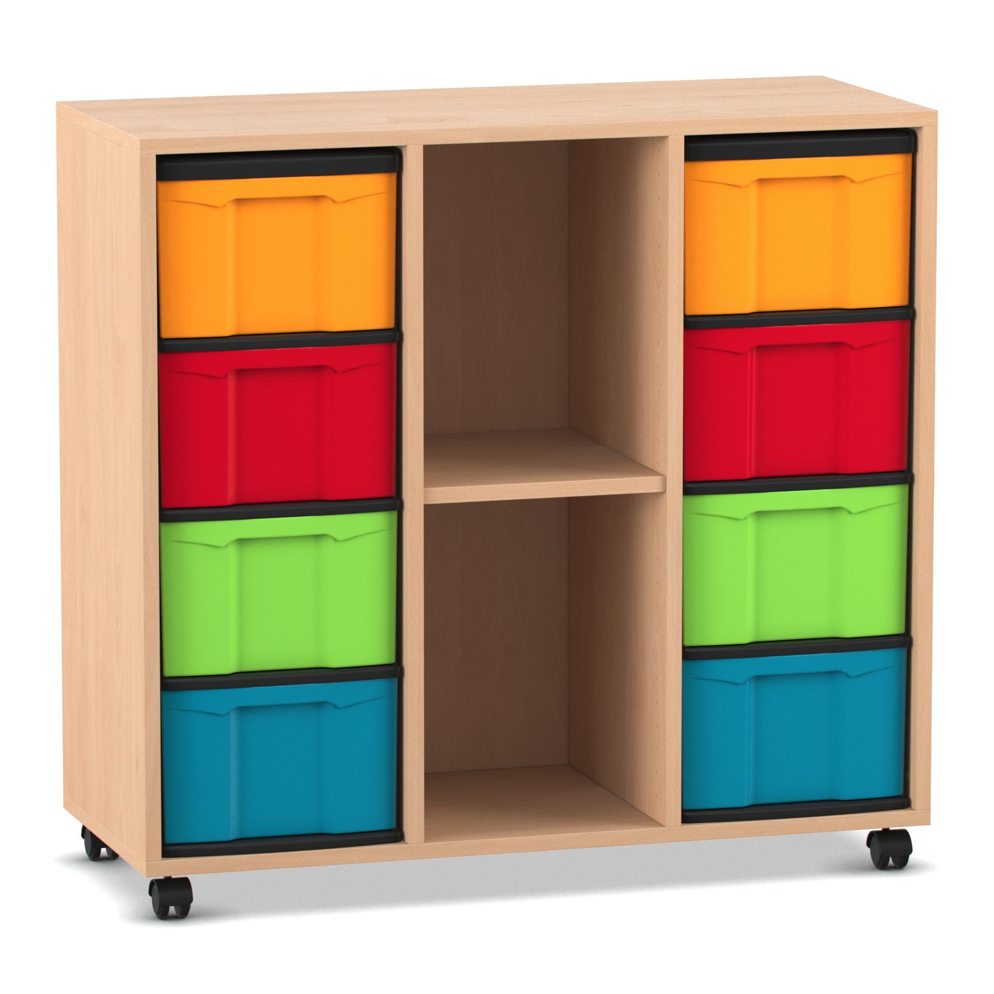 Flexeo Regal mit 2 Reihen, 3 Fächern und 8 kleinen Boxen